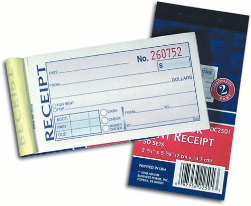 receipts book