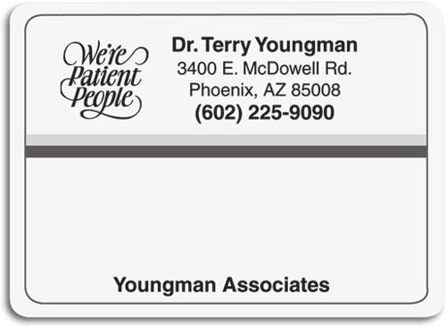 black and gray mailing label smartpractice dental