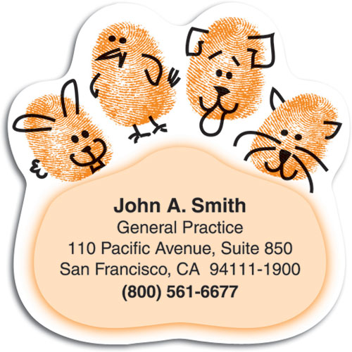 Veterinary magnetic business cards attract new clients pawthumb prints die cut magnet colourmoves