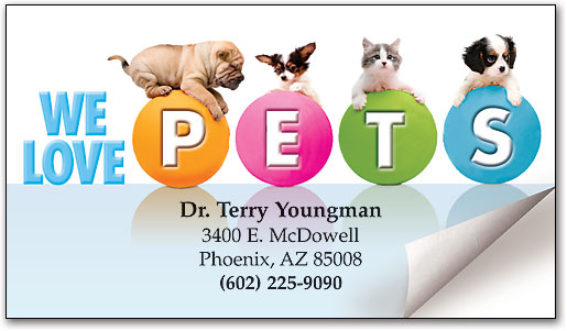 Sweet pet friends appointment business cards smartpractice veterinary you may also need pets on dots restix sticker business card colourmoves