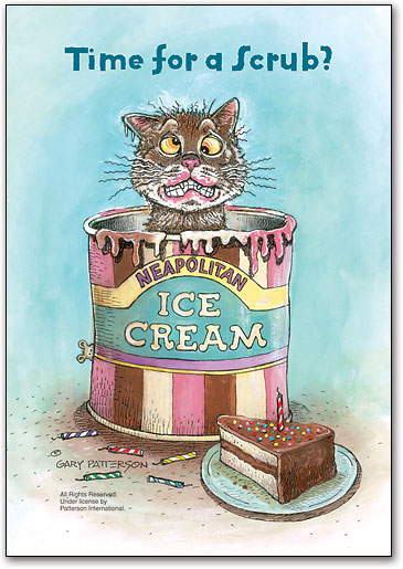 Ice Cream Kitty 3 Up Laser Card