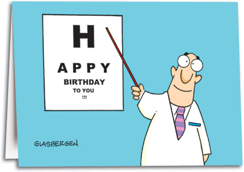 Birthday cards convey a personal touch smartpractice eye care eye chart birthday folding card by glasbergen m4hsunfo