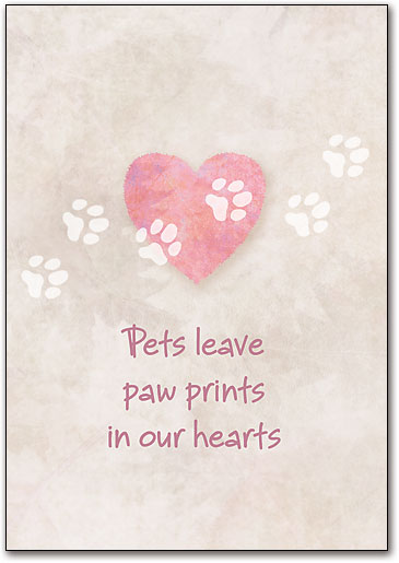 pawprints in our hearts note sized folding card smartpractice