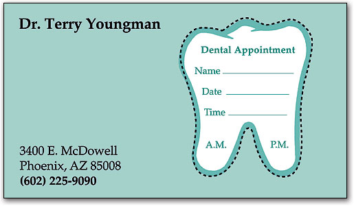 simple tooth sticker appointment card - Dental Appointment Cards