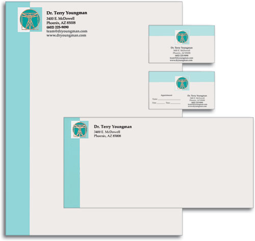 Chiropractic stationery and letterhead smartpractice chiropractic professional touch stationery set health tech reheart Image collections