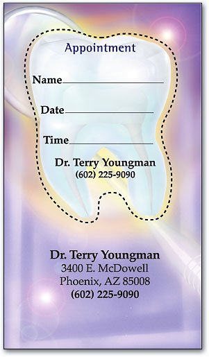 tooth and mirror sticker appointment card - Dental Appointment Cards