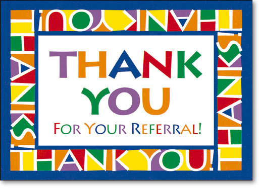 Referral cards smartpractice medical color block thank you postcard expocarfo Image collections