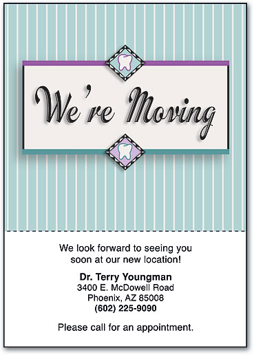 Relocating dental moving cards help patients stay in touch were moving tooth perforated postcards spiritdancerdesigns Image collections