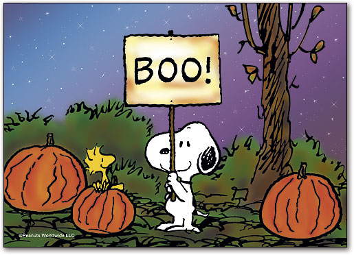 snoopys boo halloween postcard by peanuts