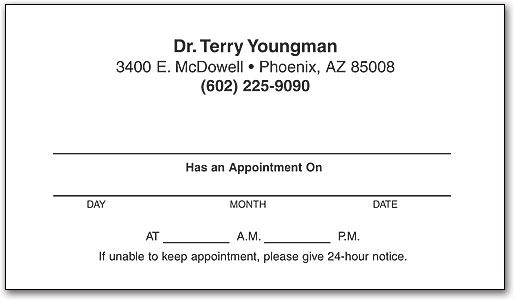 Economy one color appointment business card smartpractice chiropractic style 4 colourmoves