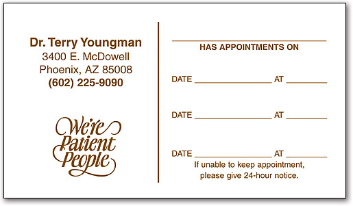economy one color appointment business card - Appointment Cards