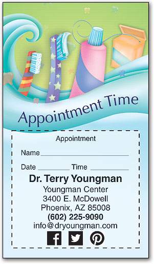 oral care wave sticker appointment card - Dental Appointment Cards