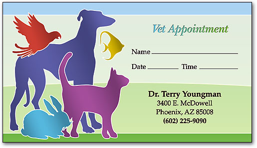 Veterinary business cards smartpractice veterinary color silhouettes appointment business card colourmoves