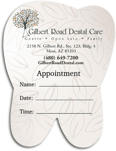 Die cut dental appointment cards demand attention smartpractice dental custom die cut tooth appointment card colourmoves