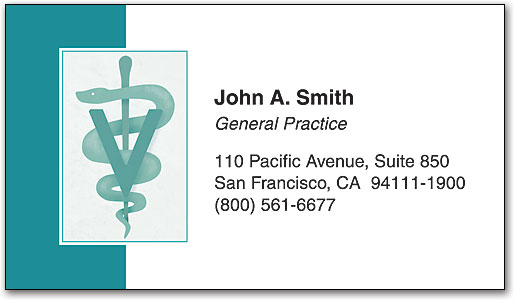 Teal Vet Symbol Business Card