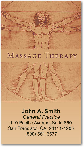 man illustrationmassage business card - Massage Therapy Business Cards