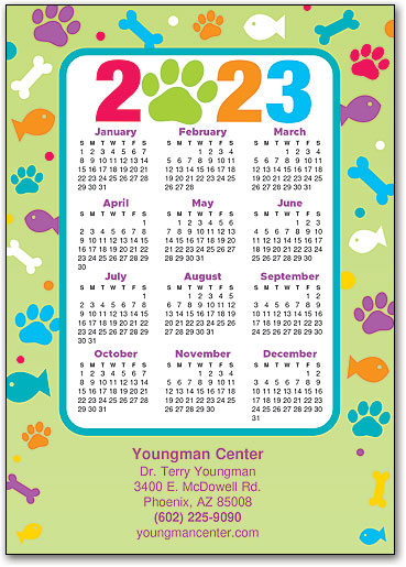 paw n pets border calendar postcard