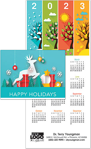 Crafted Cutouts Greeting Card with Tri-Fold Calendar