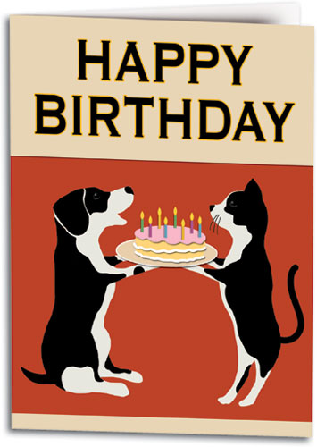 Retro Birthday Cake Pets Folding Card