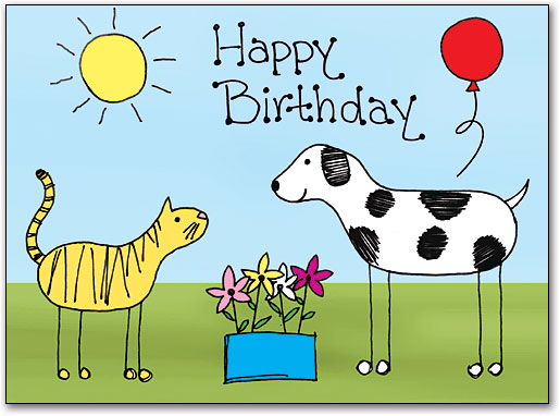 Birthday Stick Pets Folding Card