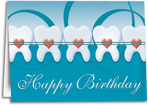 Happy Birthday Three Teeth Hearts Folding Card