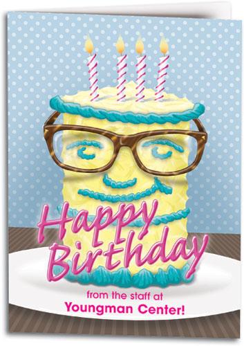 Big Birthday Glasses Customizable Folding Card