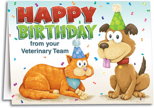 Party Hat Pets Customizable Folding Card