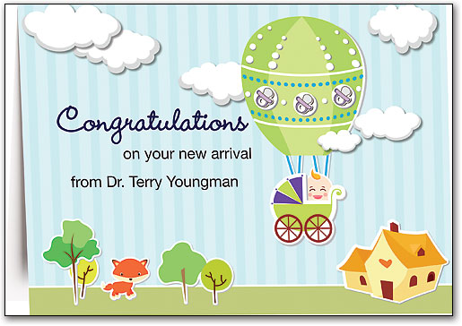 baby balloon customizable folding card - Congratulations Cards