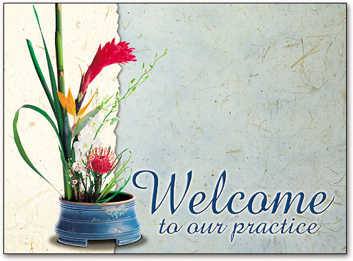 Impress new patients with hand written welcome cards smartpractice welcome tropical flowers folding card by smartpractice m4hsunfo