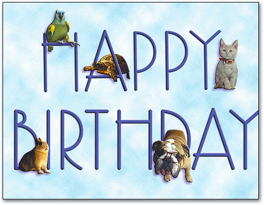All Pets Happy Birthday Folding Note Card