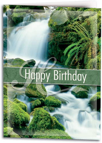 Nature and scenic photograph birthday cards smartpractice chiropractic lush waterfall folding card by smartpractice m4hsunfo