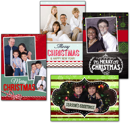 photo template folding card with silver foil lined envelope