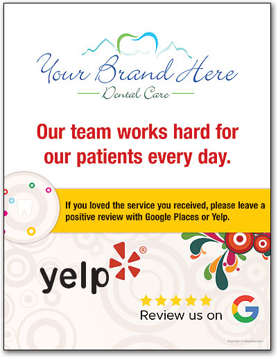 Request online reviews with cards signs and bags smartpractice dental zoom reheart Choice Image