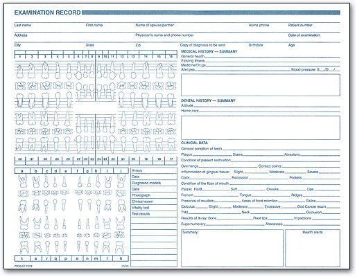 Dental Chart Form 1 | SmartPractice Dental