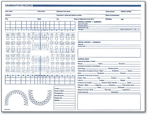 Clinical forms make dental charting easy smartpractice dental examination record form by smartpractice pronofoot35fo Image collections