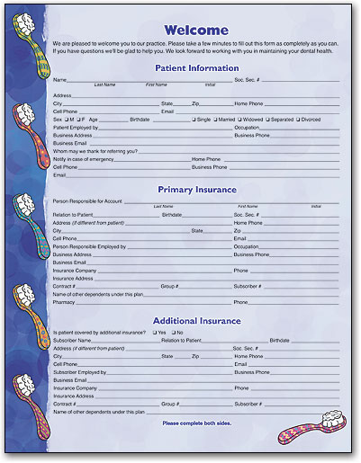 Welcome and History Forms for New Dental Patients | SmartPractice ...