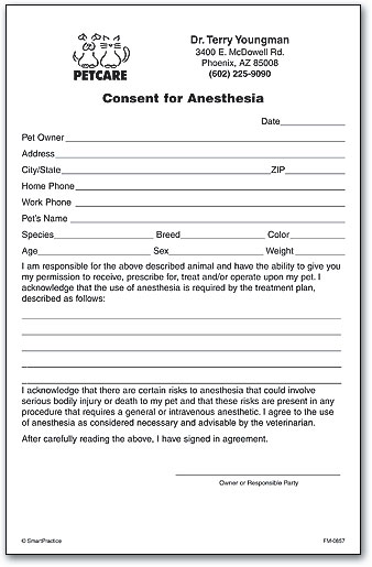 Consent For Anesthesia Form By SmartPractice  Blank Consent Form