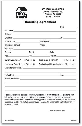 Boarding Consent Form By SmartPractice  Blank Consent Form