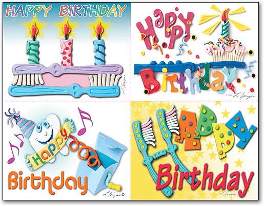 Clay Birthday Deluxe 4 Up Laser Card Assortment