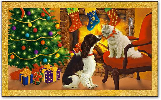 Christmas Kiss 3.Christmas Kiss 3 Up Laser Card Smartpractice Veterinary