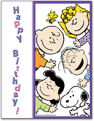 Happy Birthday From The Gang 4 Up Laser Card By Peanuts