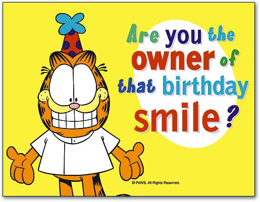 Birthday Own Smile 4 Up Laser Card Garfield