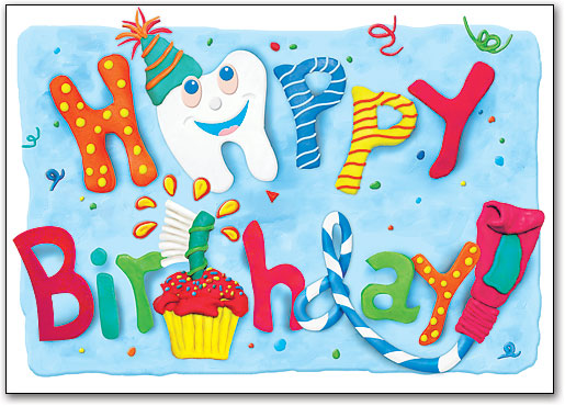 Colorful Dental Birthday Postcard