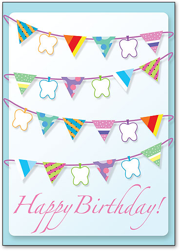 Flag Teeth Birthday Postcard