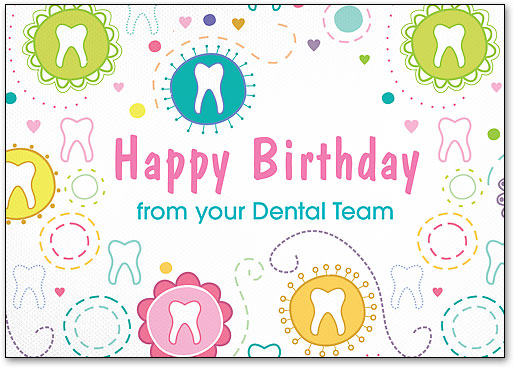 Tooth Circles Birthday Postcard