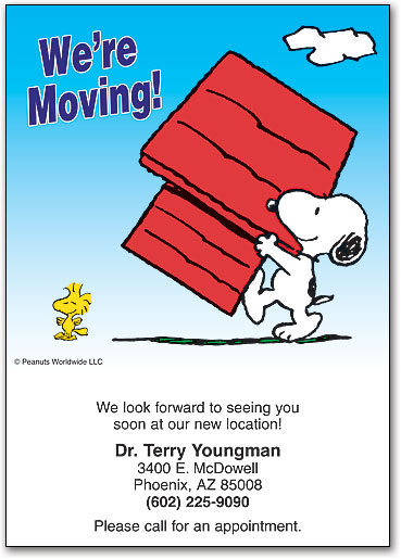 Relocating dental moving cards help patients stay in touch peanuts moving crew postcard spiritdancerdesigns Image collections