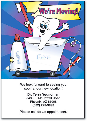 Relocating dental moving cards help patients stay in touch were moving dental graphics perforated postcards spiritdancerdesigns Image collections