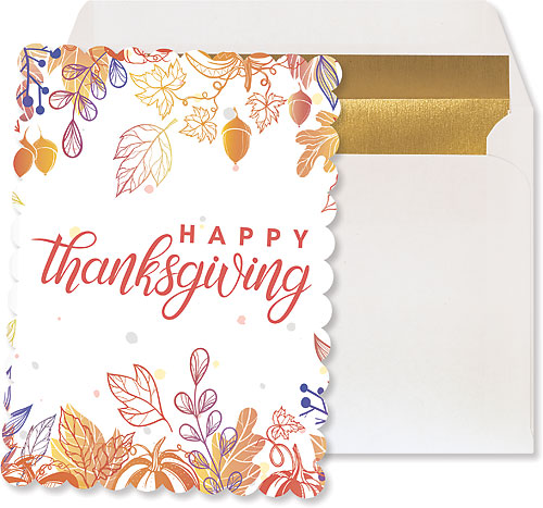 Thanksgiving Bliss Large Silhouette Postcard  with Envelope